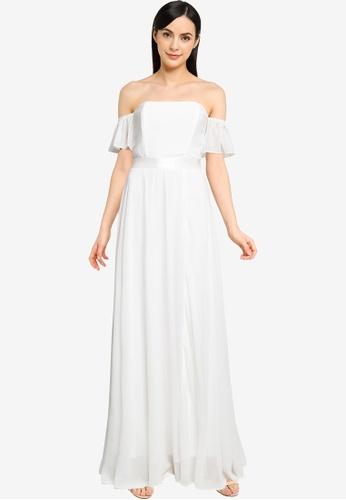 Goddiva white Off The Shoulder Chiffon Wedding Dress With Front Split F0AD5AA81AFA39GS_1