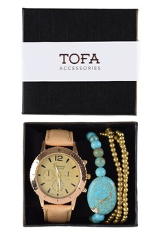 Watch And Bracelet Pack - Boyfriend Watch w/ Turquoise and Bracelets