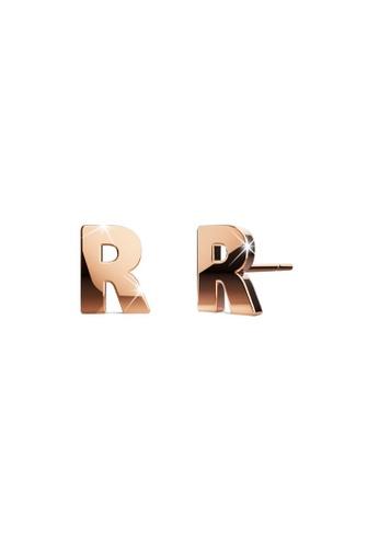 Bullion Gold gold BULLION GOLD Dainty Alphabet Letter Earring Rose Gold Layered Steel Jewellery - R 13E44AC1F7A18FGS_1