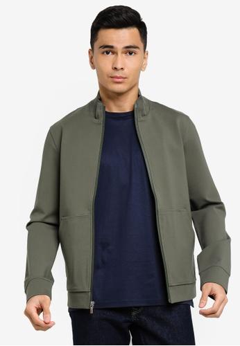 ck Calvin Klein green COMPACT MOCK ZIP-UP JACKET WITH SILICONE LOGO 4D19EAAD5D66E9GS_1