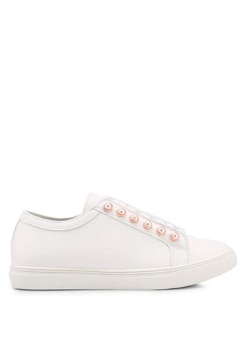 Velvet white Pearl Eyelet Sneakers 0310CSHA19103EGS_1