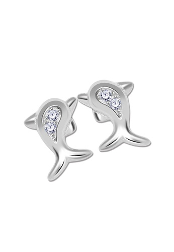 SC Tom Silver silver Dolphin Stud Stone Earrings-ESS179 SC872AC78JZTPH_1
