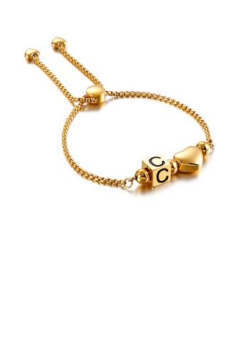 Glamorousky 銀色 時尚個性鍍金色心形英文字母C方塊316L鋼手鏈 7F3A8AC61971B7GS_1