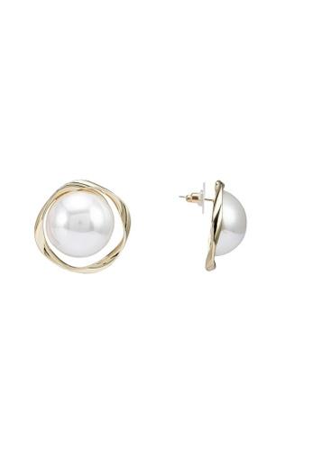 Red's Revenge white Modern Musings Pearl Stud Earrings A7D53ACC7651D2GS_1