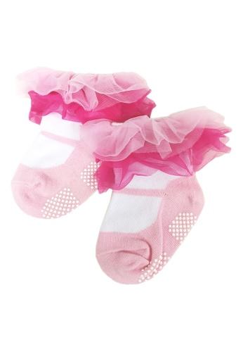Lowela white and pink Pink Organza Ruffle Socks C3161KA15FDB40GS_1