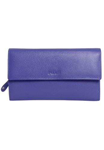 """SADDLER purple SADDLER 7"""" Ladies Teal Multi-Section Tri-fold Wallet with Full Length Zipper Coin Purse Ultraviolet 61021AC06A2D60GS_1"""