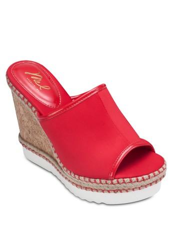 露趾寬帶楔esprit地址形跟涼鞋, 女鞋, 鞋