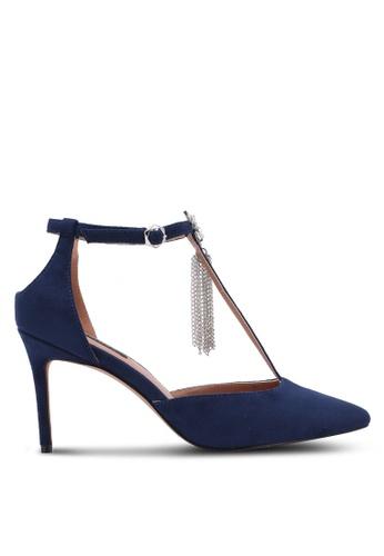 ZALORA 海軍藍色 T-Bar Pointed Toe Heel 87204ZZEE9A467GS_1