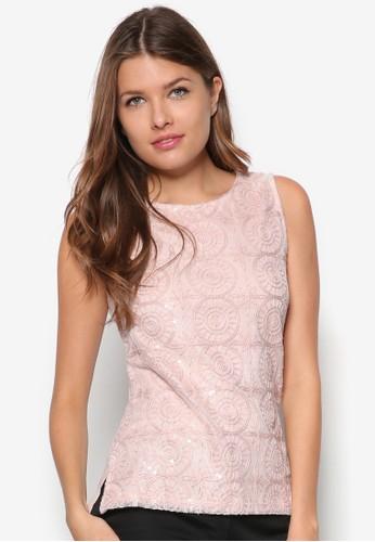 亮片蕾絲無袖上zalora時尚購物網評價衣, 服飾, 上衣