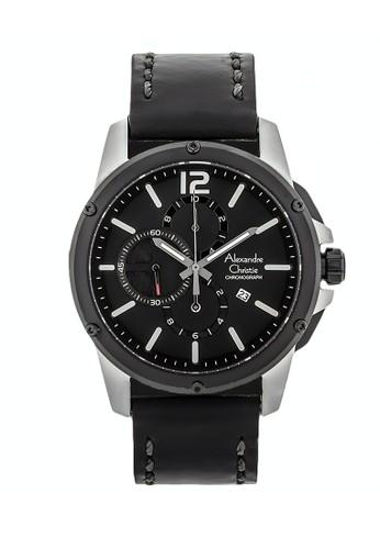 Alexandre Christie black Alexandre Christie Jam Tangan Pria - Black Silver - Leather Strap - 6486 MCLTBBA 7FAD0AC754D5B5GS_1