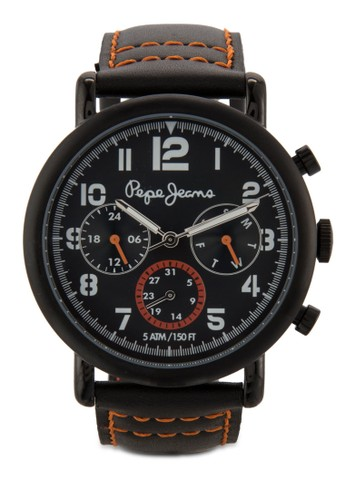 R23esprit台北門市51105001 Charlie 副錶盤皮革男錶, 錶類, 飾品配件
