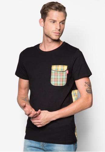 Pastiche 格紋拼接圓領TEesprit台灣E, 服飾, 印圖T恤