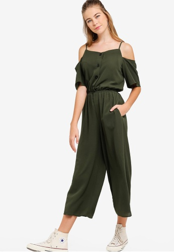 Something Borrowed green Cold Shoulder Buttoned Down Jumpsuit E937CAA04C8D2EGS_1