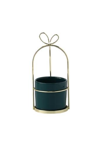 DILAS HOME green Ribbon Gift-shaped Gold Plant Pot (Green) - Medium 1A7C9HLB2A641FGS_1