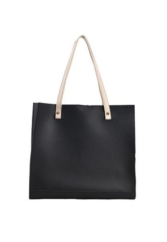 Lara black Women's Minimalist Plain Leather Zipper Tote Bag - Black C05BFAC6C4D28EGS_1