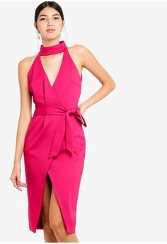 3c1b9a4e297 Lavish Alice pink Ponte Choker Neck Wrap Midi Dress 94FA6AA02DA835GS 1