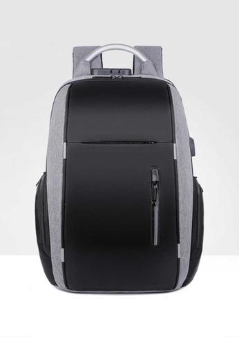 Lara grey Men's Wear-resistant Oxford Cloth Zipper Backpack - Grey 261B7ACED4D14CGS_1