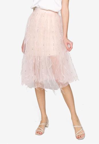 Hopeshow orange High Waist Midi Skirt 251FBAA32830C3GS_1