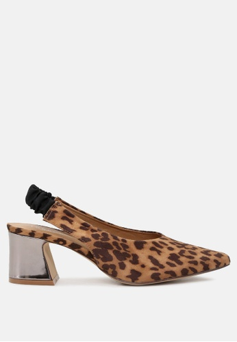 London Rag brown Leopard Slingback Pumps with Metallic Heel CB4FESH7180134GS_1