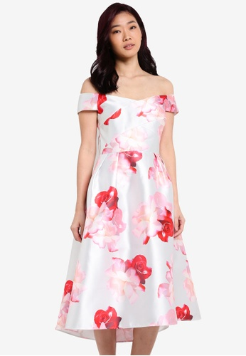 Dorothy Perkins silver Silver Floral Bardot Prom Dress DO816AA0RQVFMY_1