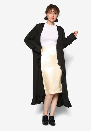 韓系zalora是哪裡的牌子時尚荷葉飾長版外套, 服飾, 夾克 & 大衣