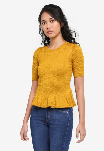 TOPSHOP yellow Shirred Knitted T-Shirt 5841AAA79E5F8EGS_1