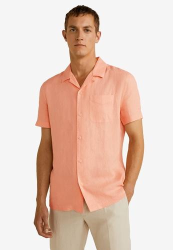 Mango Man 橘色 亞麻標準剪裁襯衫 3DAC2AA33951B6GS_1
