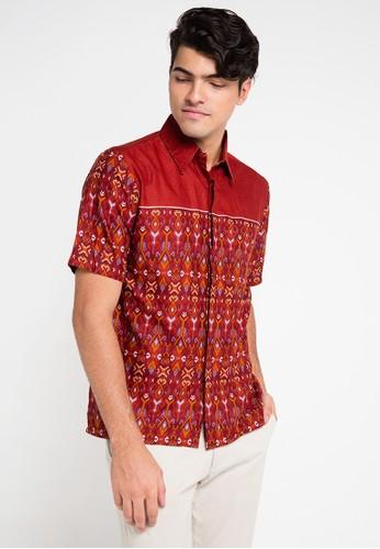 Adikusuma red and multi Hem Batik Songket Denim AD742AA0VQRRID_1