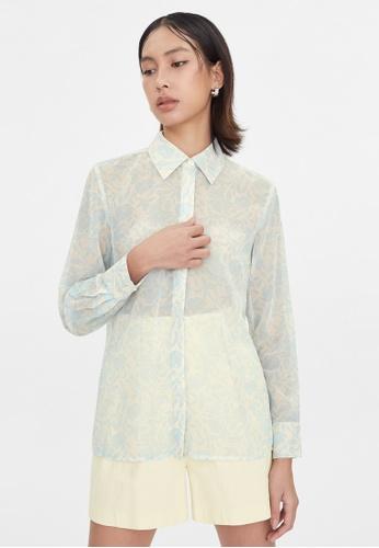 Pomelo blue Leaf Print Semi Sheer Shirt - Blue F5B6AAA307E050GS_1