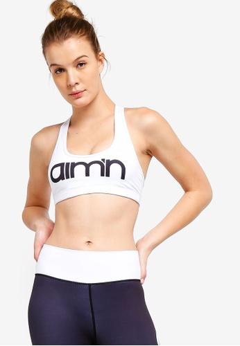 f8666363d514 Buy Aim'n White Logo Medium Support Sport Bra Online   ZALORA Malaysia