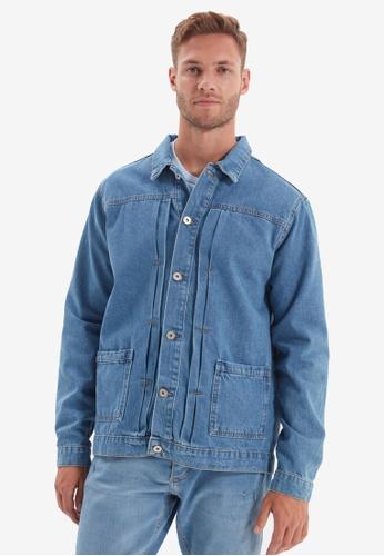 Trendyol blue Blue Denim Jacket C6931AA2F42FF8GS_1