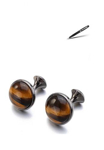 Kings Collection black Gun Plating Round Tiger-Eye Stone Cufflinks and Jaguar Brass Metal Ball Pen Luxury Set C4102ACB21D264GS_1