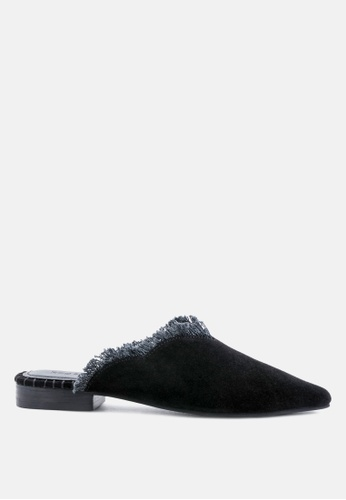 Rag & CO. black Frayed Leather Mules 556D5SHF9129C9GS_1