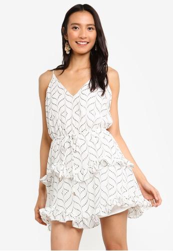 INDIKAH white Slip Skater Dress With Waist Tie 281DBAAD9014D0GS_1