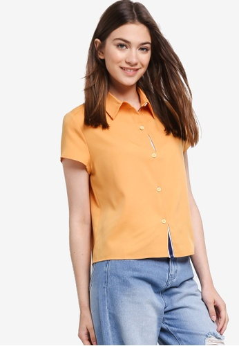 Something Borrowed yellow Striped Trim Boxy Cropped Shirt D4085AA9945B0AGS_1