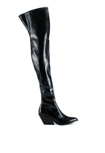 TOPSHOP 黑色 Bamboo Over The Knee 靴子 48D4DSHC356DE8GS_1