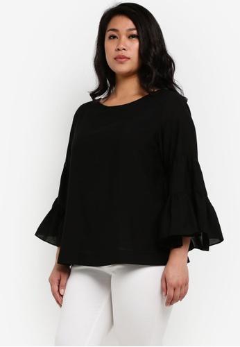 Ex'otico black Plus Size 3/4 Flare Sleeve Blouse EX373AA0RUVPMY_1