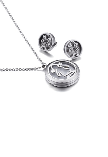 Glamorousky silver Fashion Cute Little Girl Geometric Round 316L Stainless Steel Necklace and Stud Earrings Set 586B2ACE313B67GS_1