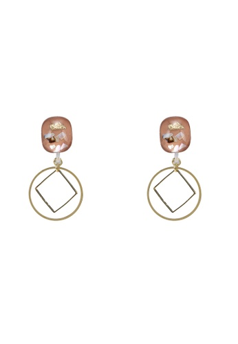 GLOBAL WORK pink Dangle Geo Earrings 1D078ACEC3D32FGS_1