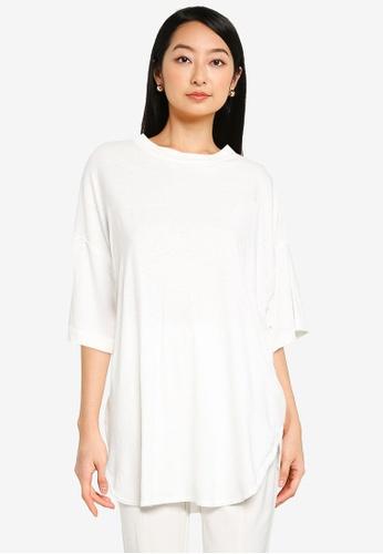 JEANASIS white Shoulder Slit T-Shirt 8DA19AA8FE283EGS_1