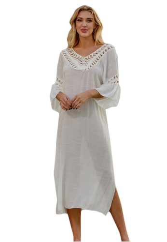 LYCKA white LTH4167-European Style Beach Casual Outer Dress-White 1C568US6276650GS_1