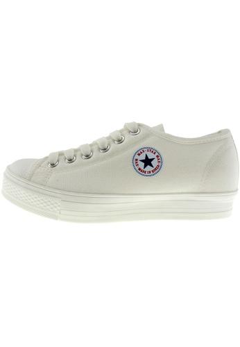 Maxstar 白色 新款韩国鞋C1-6H時尚帆布布混合女白色 US Women Size MA345SH38GRTTW_1