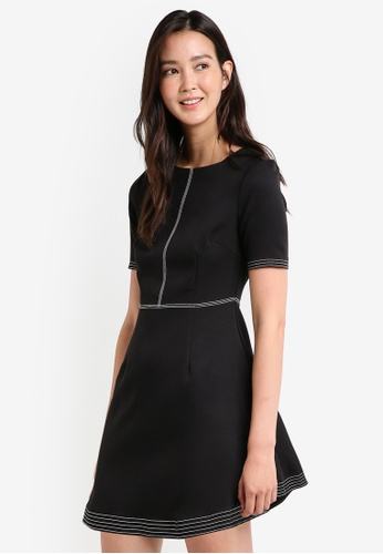 ZALORA black Stitch Detail Fit And Flare Dress 795D6AAF02077FGS_1