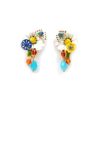 Glamorousky silver Fashion and Elegant Plated Gold Enamel Daisy Butterfly Stud Earrings with Cubic Zirconia 19685AC7D18E83GS_1