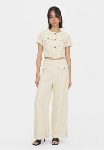 Pomelo beige Tweed Front Pocket Pants - Cream 11C67AA1CDDBECGS_1