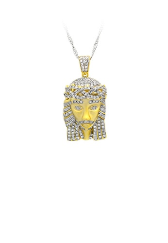 Glamorousky silver K Gold Plated 925 Sterling Silver Portrait Pendant with White Cubic Zircon and Necklace 56A2DAC734B027GS_1
