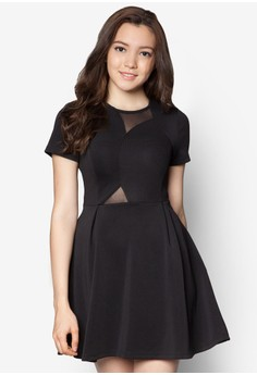 Colourblocked Mesh Panel Fit And Flare Dress