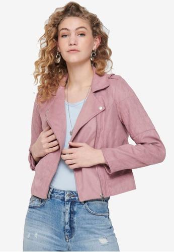JACQUELINE DE YONG pink Peach Faux Suede Biker Jacket 2767AAA6651309GS_1