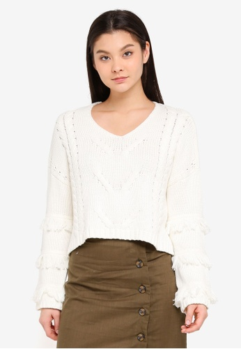 Cotton On white Freya Fringe Cable Knit Pullover 79397AA68623BBGS_1