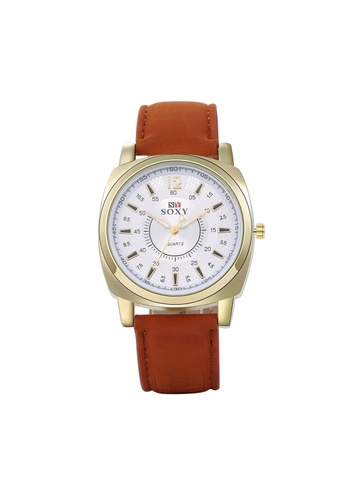 Treasure by B & D brown WH0052J Stylish Quartz Business Casual Man Watch Stainless Steel Metal Round Dial TR022AC93UPQPH_1